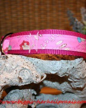 """Hundehalsband """"Eule Rosa"""""""