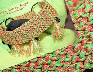 Hundehalsband Paracord Neon Green Orange
