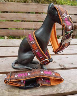 """Hundehalsband """"Schleck Wuff Knurr orangebraun 1"""""""