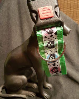 Halsband Neongruen Herz Mit Pfote (2)