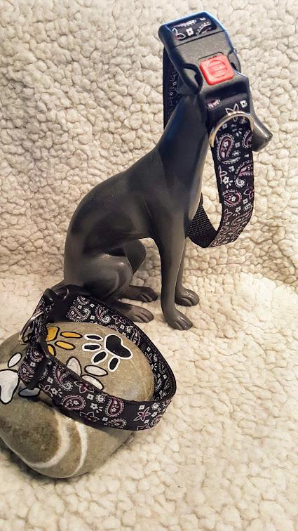 Hundehalsband Blumentraene schwarz