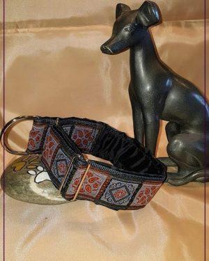 Hundehalsband Retro Blau Braun (1)